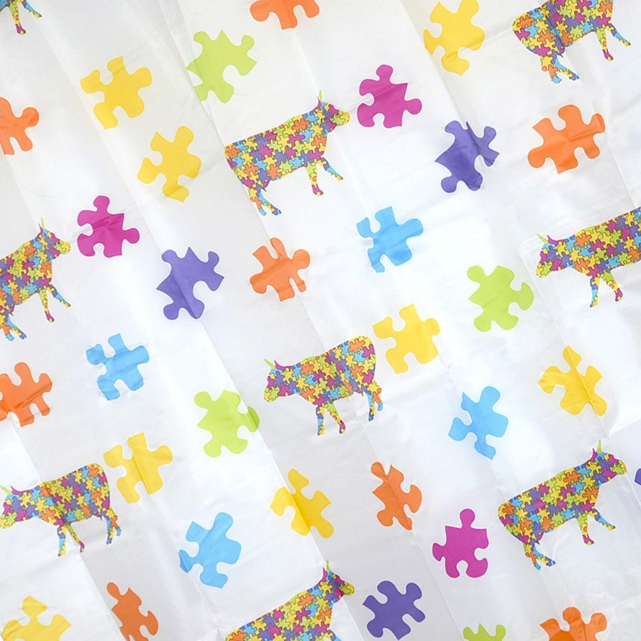 Cortina de ba o para ducha con tejido de peva dise o puzzle con estilo infantil hogar y m s - Cortinas de bano de diseno ...