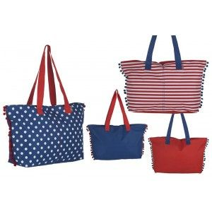 Beach bag with Handle and pom-Poms, Two Colors Design Original Home and More