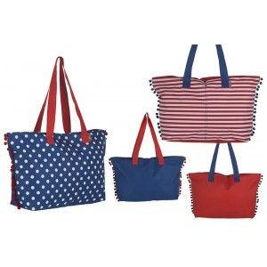Bolsa de Playa con Asa y Pompones Dos Colores Diseño Original Hogar y Más