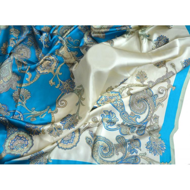 Pañuelo  de seda 100% natural, modelo Turquesa, de Hogar y Mas