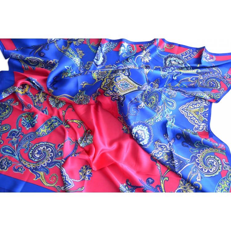 Pañuelo  de seda 100% natural, modelo Turquesa, color fucsia, de Hogar y Mas