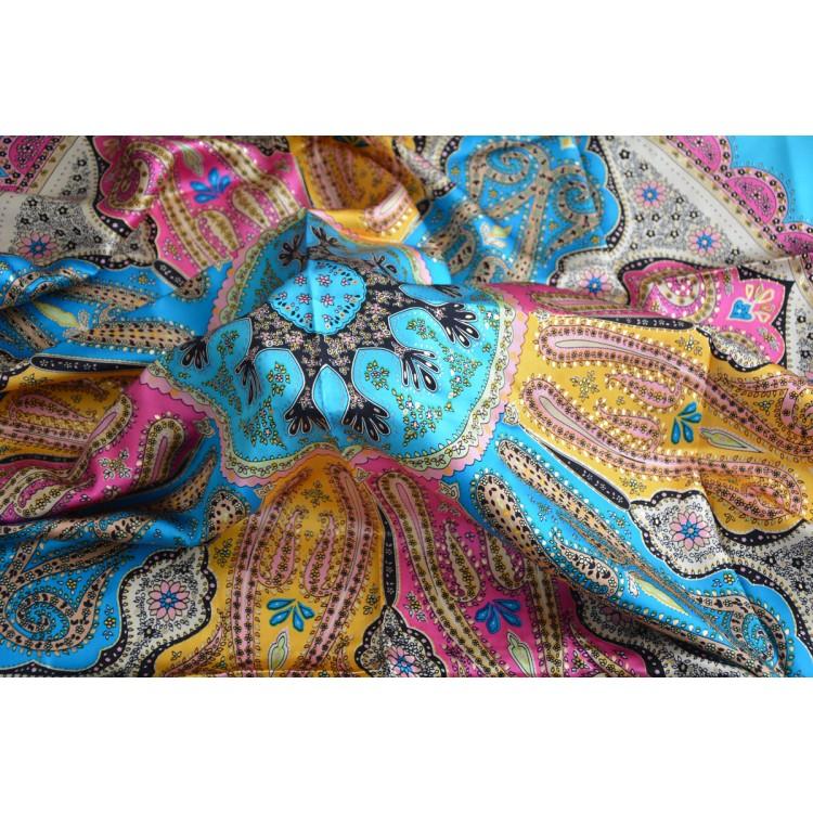 Pañuelo  de seda 100% natural, modelo coral azul, de Hogar y Mas
