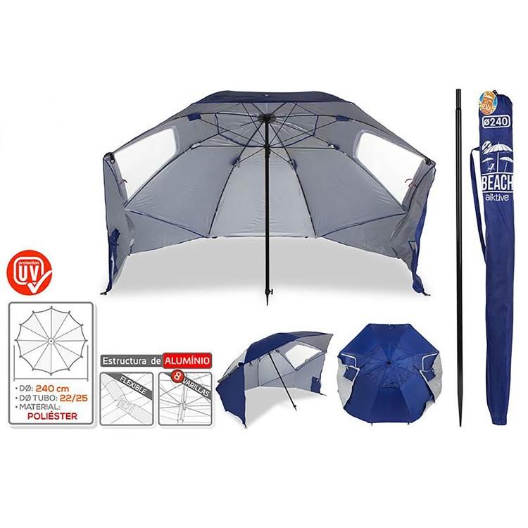 Sombrilla de Playa Azul Ø  240 cm.  Especial con Paravientos y Estructura metálica, Protección Solar, Full Equipe. Hogar y Más.