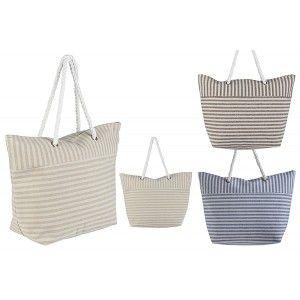 Beach bag with Handle, Striped Design Original Three Colors, Home and More