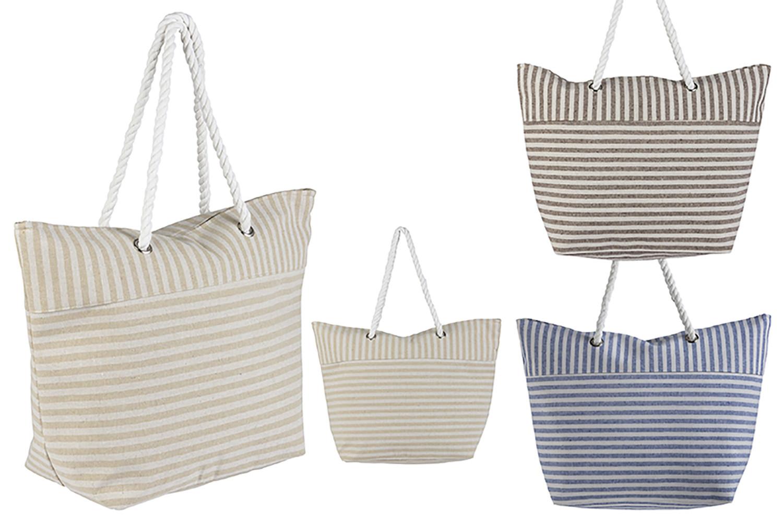 Bolsa de Playa con Asa Diseño Rayas Original Tres Colores Hogar y Más