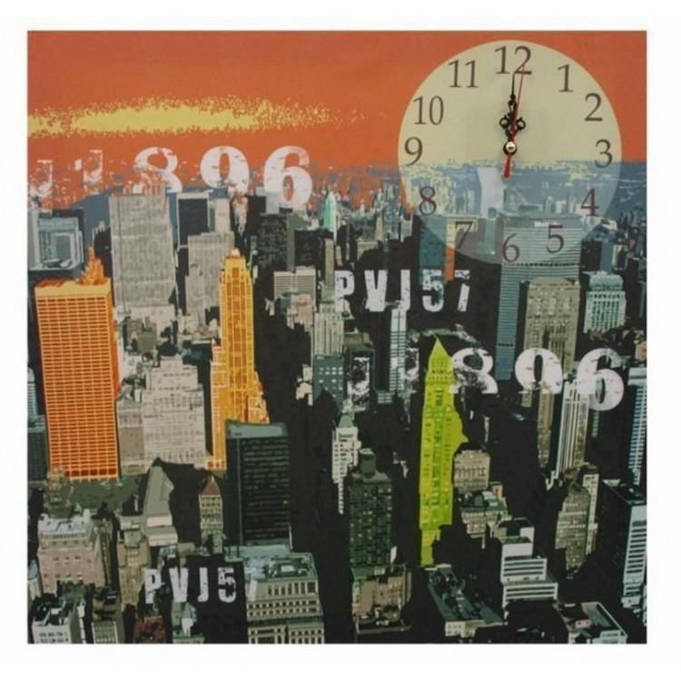 Reloj sobre lienzo fotoimpresión de New York con bastidor de Madera. Ideal para Salón o Dormitorio 40 x 40 CM.-Hogarymas-