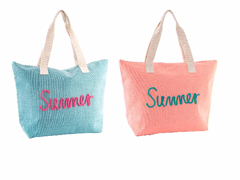 Bolso de Playa con Asa Summer Dos Colores Hogar y Más