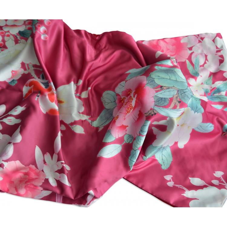 Pañuelo  de seda 100% natural, con dos caras y  flecos, modelo estampado rosa-rojo, colección otoño-invierno,  de Hogar y Mas