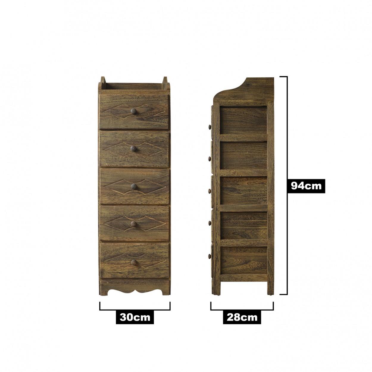 Mueble de cinco cajones de madera natural estilo cl sico for Estilo hogar muebles