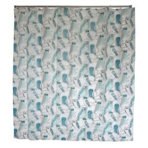 Bath curtain Shower Fabric of Peva Owls Blue Home and More