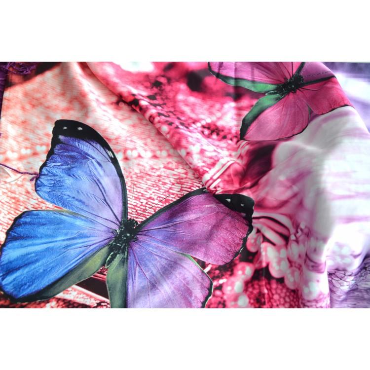 Pañuelo  de seda 100% natural, con dos caras y  flecos, modelo mariposa , colección otoño-invierno,  de Hogar y Mas