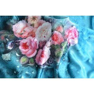 Pañuelo  de seda 100% natural, con dos caras y  flecos, modelo aguamarina , colección otoño-invierno,  de Hogar y Mas