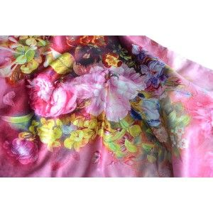 Silk handkerchief 100% natural, with two sides, and fringes, model, bouquet, pink , autumn-winter collection, Household and More