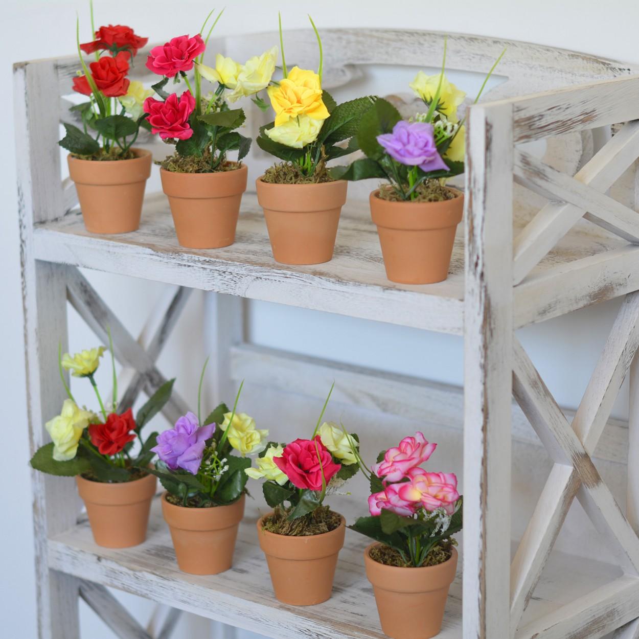 Planta artificial flores rosas y blanca en maceta de barro - Flores de maceta ...