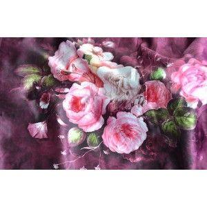 Pañuelo  de seda 100% natural, con dos caras y  flecos, modelo otoño morado-rojo , colección otoño-invierno,  de Hogar y Mas