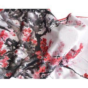 Pañuelo  de seda 100% natural, con dos caras y  flecos, modelo ramas rojo , colección otoño-invierno,  de Hogar y Mas