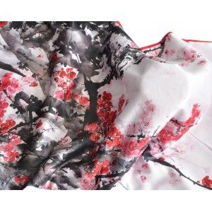 Silk handkerchief 100% natural, with two sides and a fringed model branches red , autumn-winter collection, Household and More