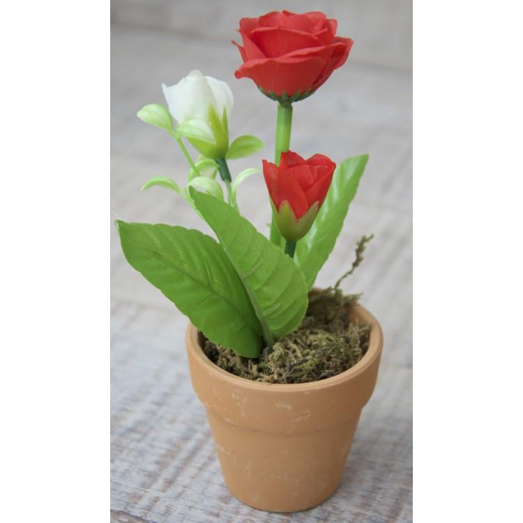 Planta artificial flor roja en maceta de barro natural - Plantar en maceta ...