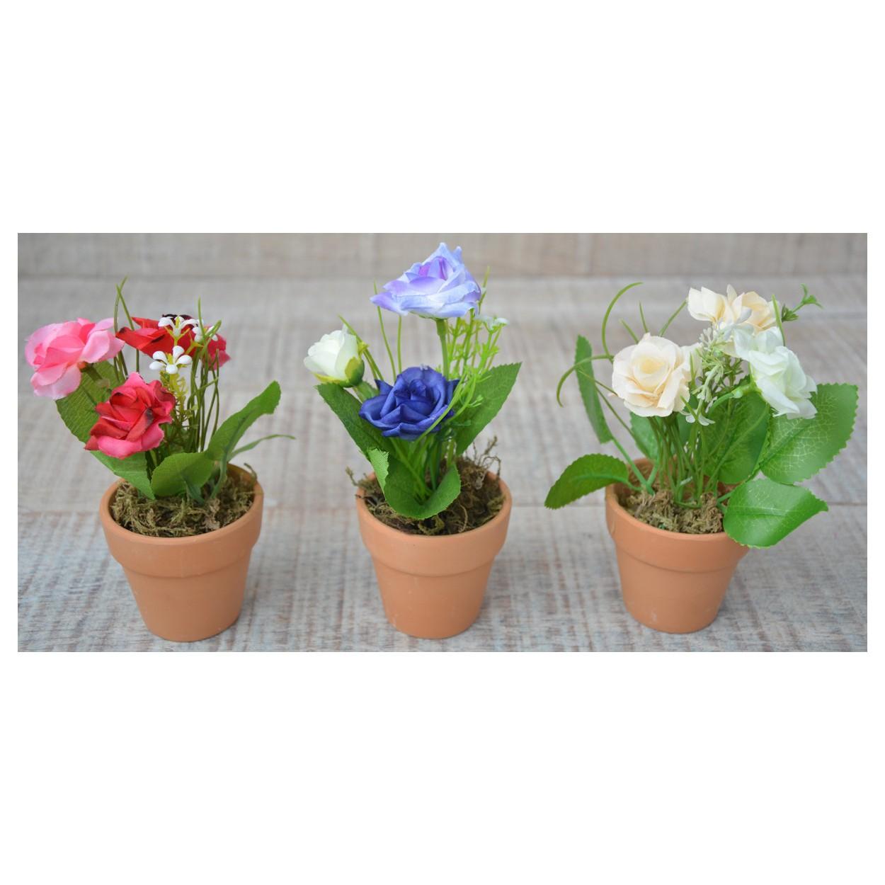 Planta artificial flores moradas con maceta de barro - Flores de maceta ...