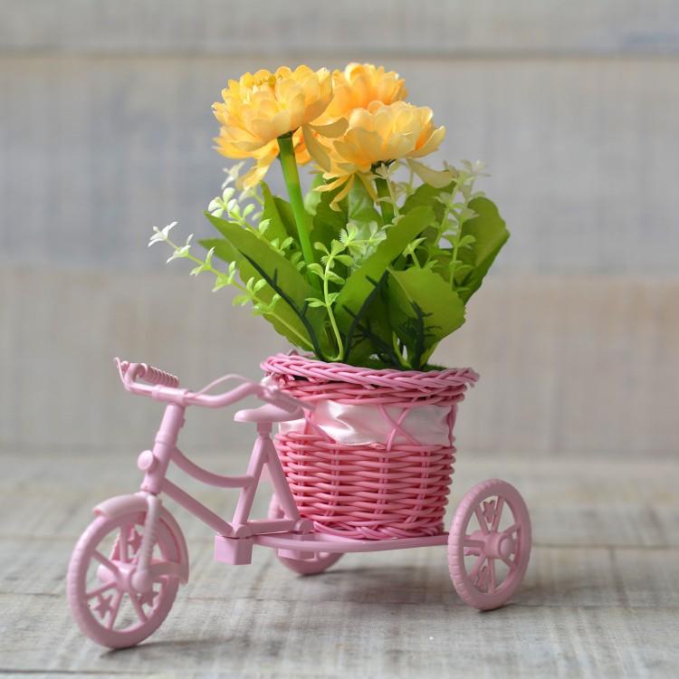 Macetero Bici Rosa y Planta Artifical Tres Modelos Hogar y Más