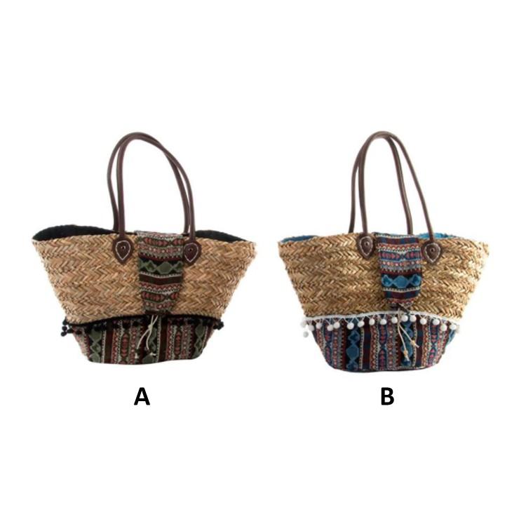 Bolso Capazo de Mimbre Natural Diseño Étnico Dos Modelos Hogar y Más