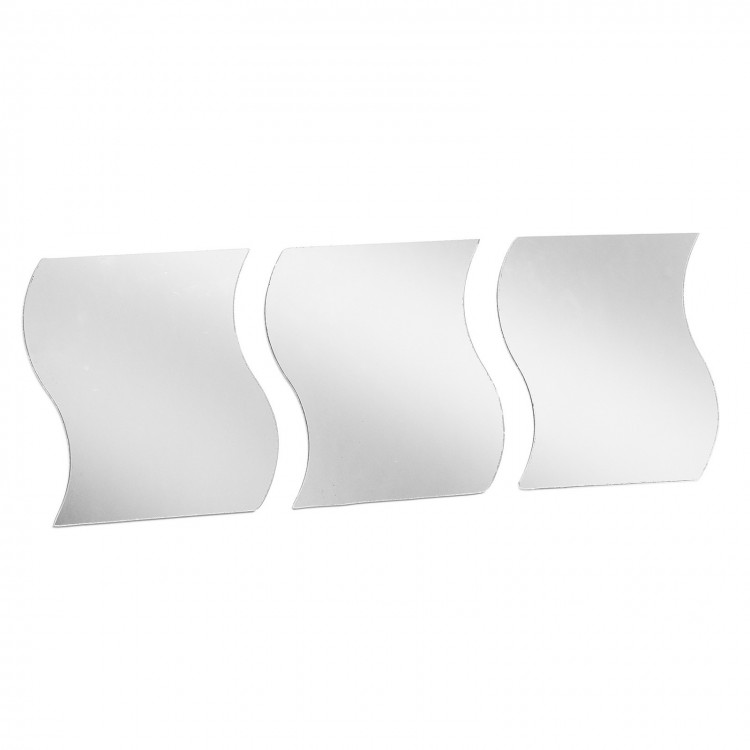 Espejos de Pared con Forma de Onda y Adhesivo Moderno Tres Unidades Hogar y Más
