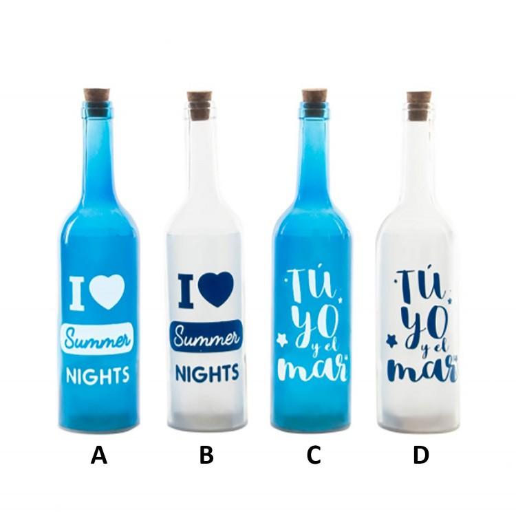 Botella Azul y Blanca de Cristal con Cinco Leds  Hogar y Más