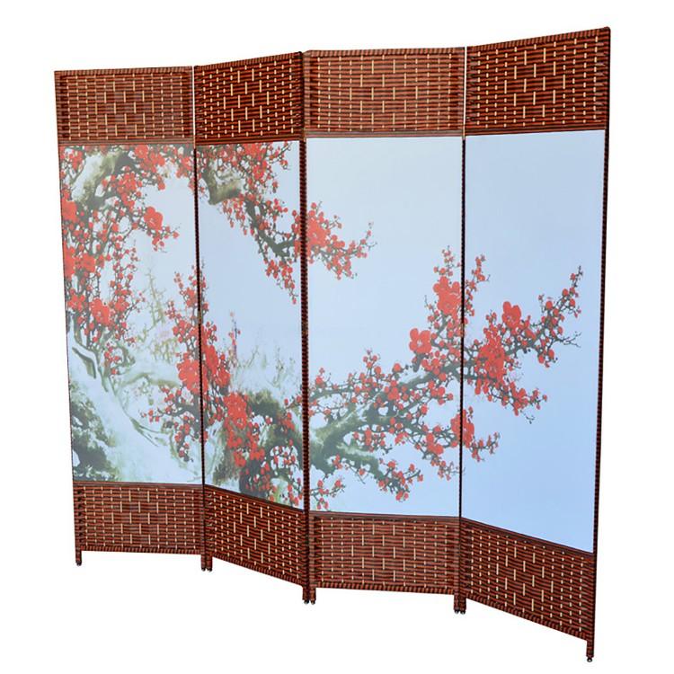 Biombo Oriental Yokayo, Plegable 4 Paneles Estructura de Madera Sakura