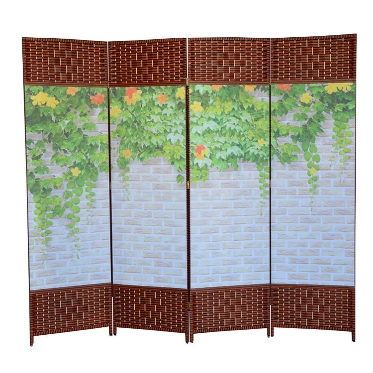 Biombo Oriental Toyako Estructura de Madera Diseño Floral Plegable 4 Paneles Hogar y Más