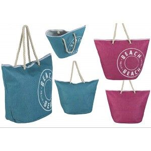 Bolsa de Playa con Asa Diseño Vintage Dos Colores Hogar y Más