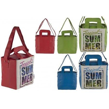 Bolsa Térmica de Playa con Asas y Cremalleras Tropical Dos Colores Hogar y Más