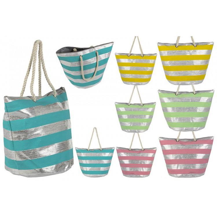 Bolsa de playa de rayas de diseño original. Hogar y mas