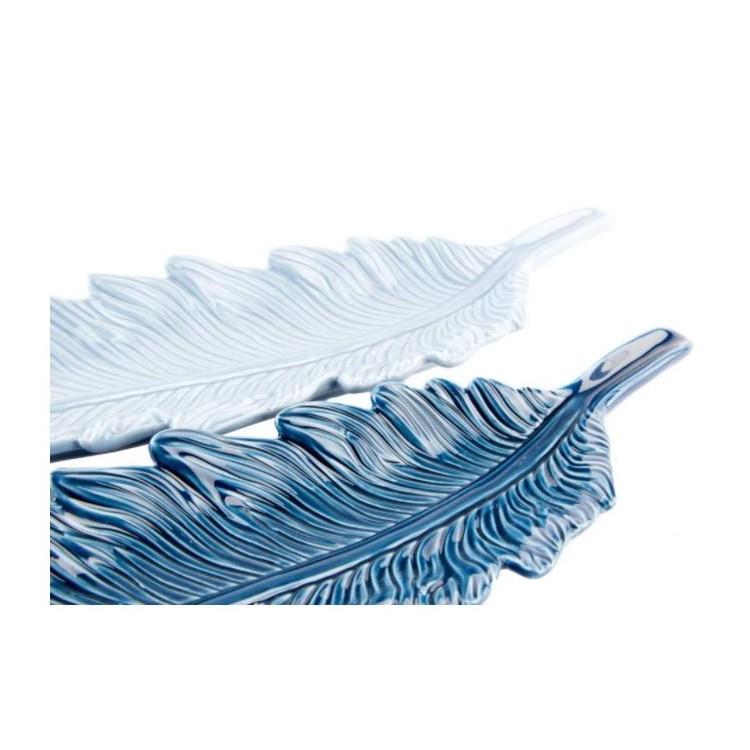 Bandeja de cerámica en forma de pluma Diseño étnico. Hogar y mas