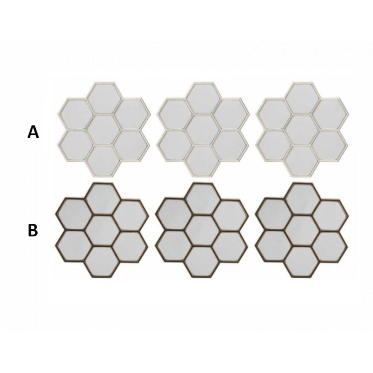 Espejo de pared en forma de panal de abeja. Set de 3 unidades Diseño Natural Hogar y mas