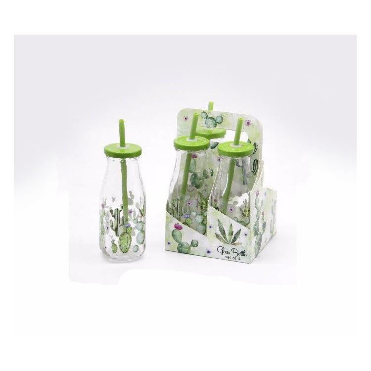 Botella de cristal con pajita Set de 4. Diseño de Cactus Natural