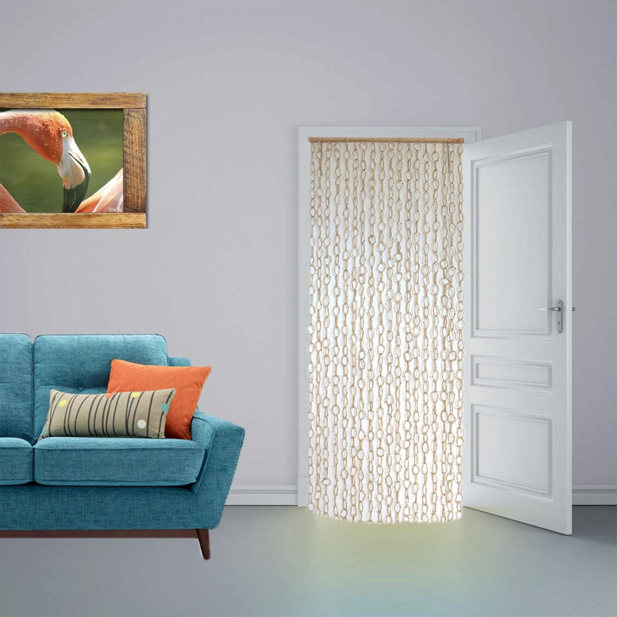 Cortina para puerta de sisal natural y madera aros color for Cortinas de madera para puertas