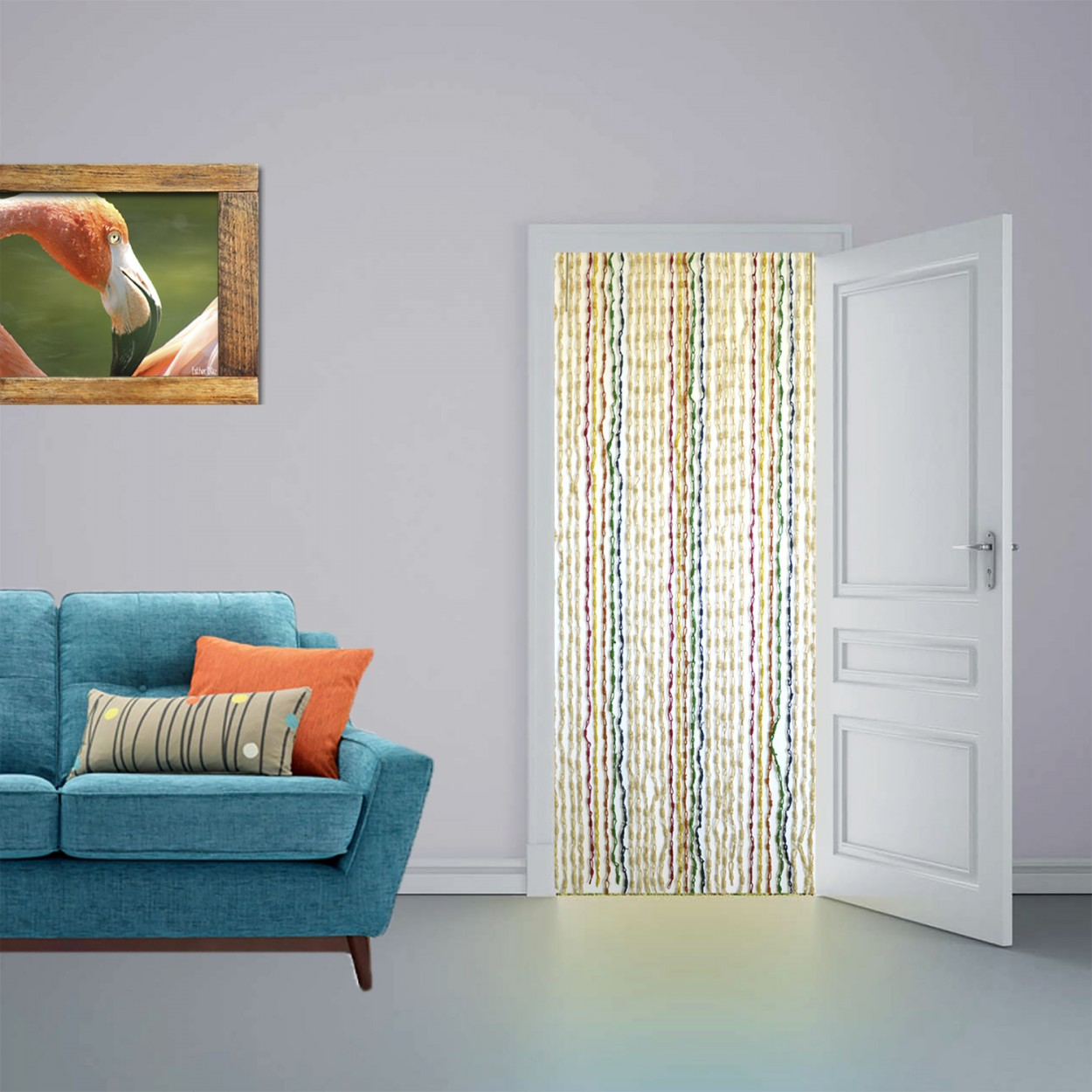 Cortina para puerta sisal natural y madera de colores for Cortinas de madera para puertas