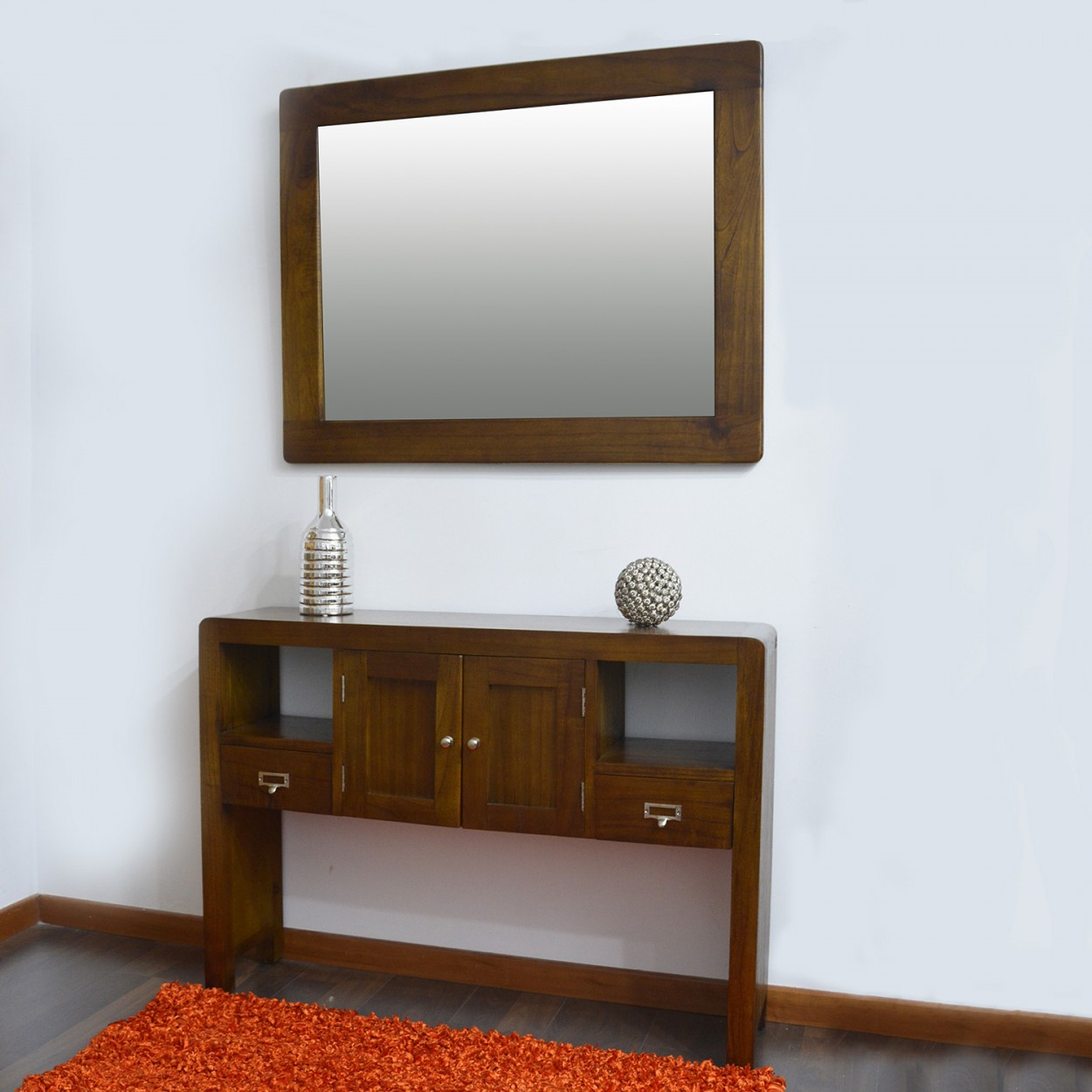 espejo barcelona de madera dise o robusto y artesano