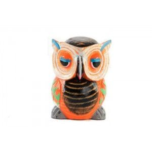Figura de Buho de Madera tallada. Diseño colorido. Hogar y más