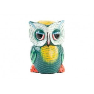 Figure of an Owl carved out of wood. Design green and yellow. Home and more.