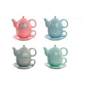 Tea makers, dish and ceramic mug Set. Model happy. Edit To taste. Home and more.