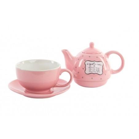 Tetera, plato y taza de cerámica en Set. Modelo happy. Edición A gusto. Hogar y mas.
