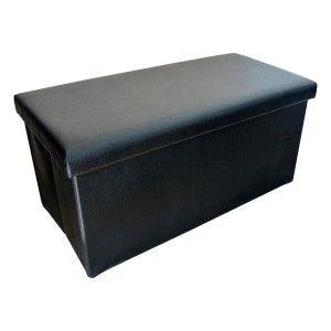 Puff Baúl Plegable Acolchado para Almacenaje Original Diseño Elegante Negro