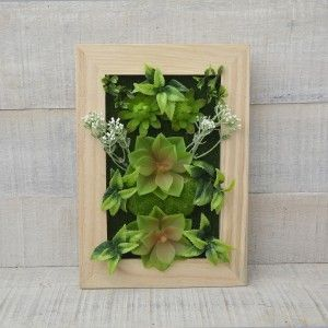 Box, Realistic Artificial Flowers, Natural Wood
