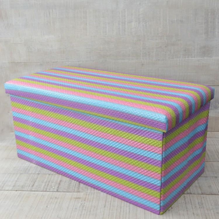 Puff Multicolor Plegable Acolchado para Almacenaje Diseño Original