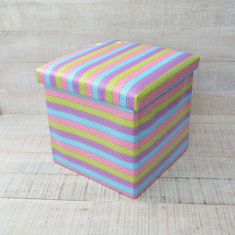 Puff Plegable Acolchado para Almacenaje Diseño Multicolor