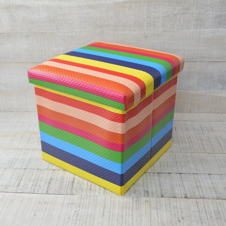 Puff Plegable Acolchado para Almacenaje Diseño Rainbow