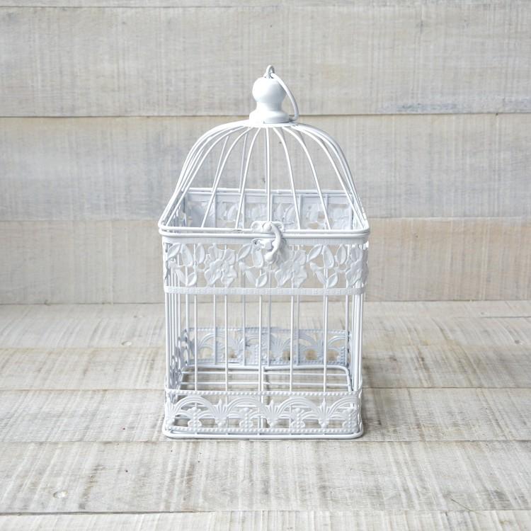 Jaula Decorativa Blanca Diseño Original Metal en Color Blanco Hogar y Más