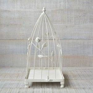 Cage Decorative, Ivory-Colored Metal Vintage Design
