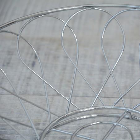 Frutero en metal cromado. Diseño industrial. Hogar y más.